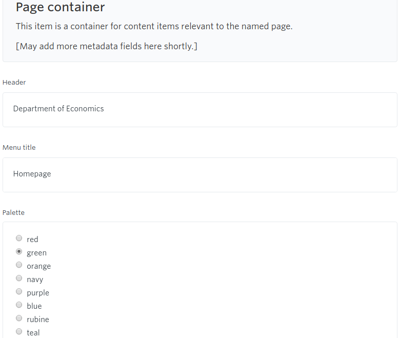 The page container is very simple.