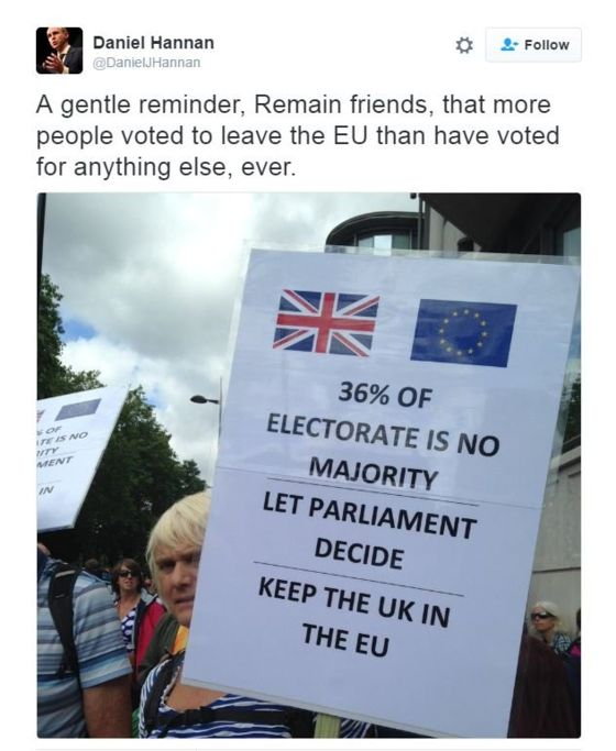 "Three claims on a placard: ""36% of the electorate is no majority. Let Parliament decide. Keep the UK in the EU."" MEP Daniel Hannan responds by tweet that more people voted to leave the EU for anything else ever."