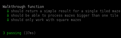 The maze tests now all passing.