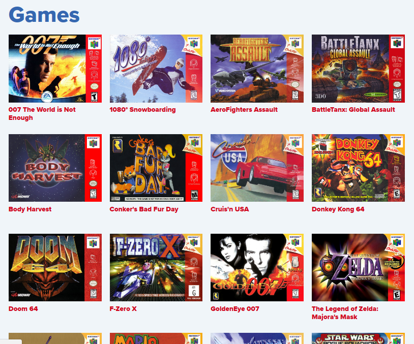 The games page is arranged currently as a series of tiles.