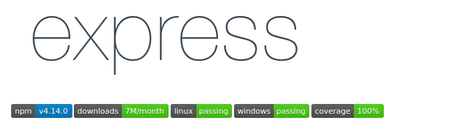 For example, the readme for the Express package has badges for the version, downloads, and test pass rate and coverage.