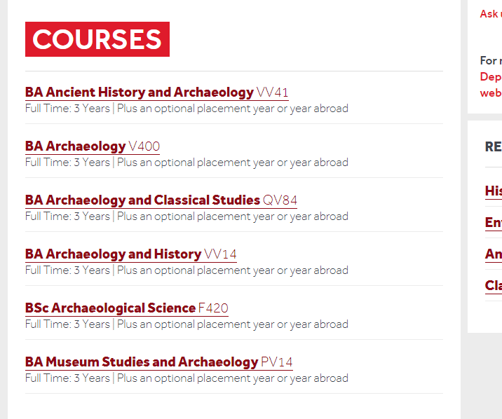 Archaelogy is one of the subject pages we have with the courses being listed about halfway down the page.